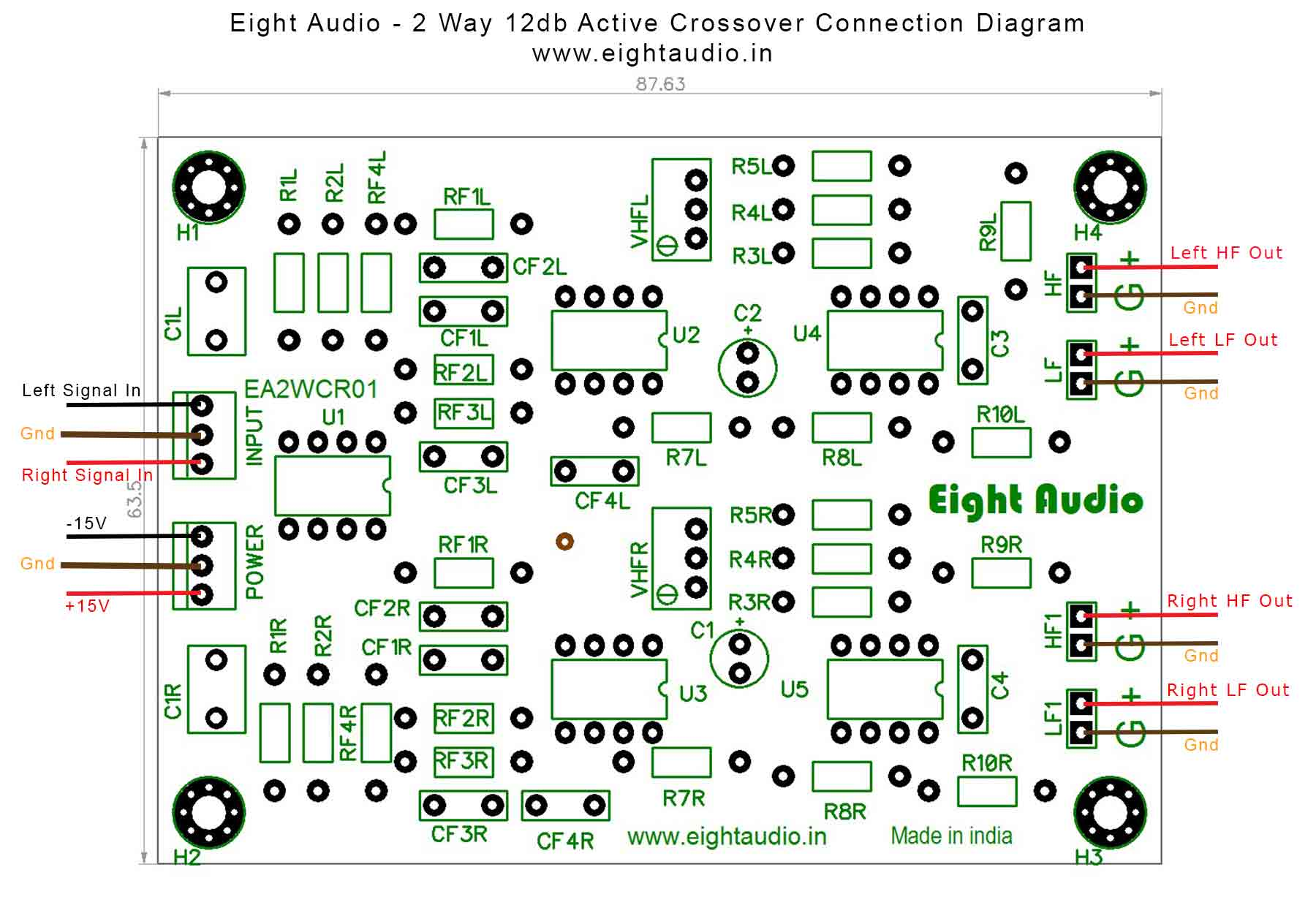 Eight Audio Ea2wcr01 2way 12db Octave Active Crossover 2000hz With 2 Way Speaker Wiring Diagram